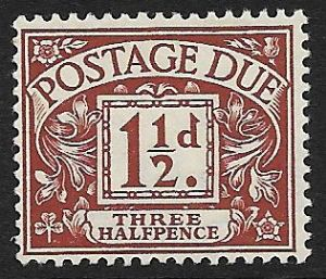 1914 D3 1½d Chestnut  George V Simple Cypher Postage Due  MOUNTED Mint